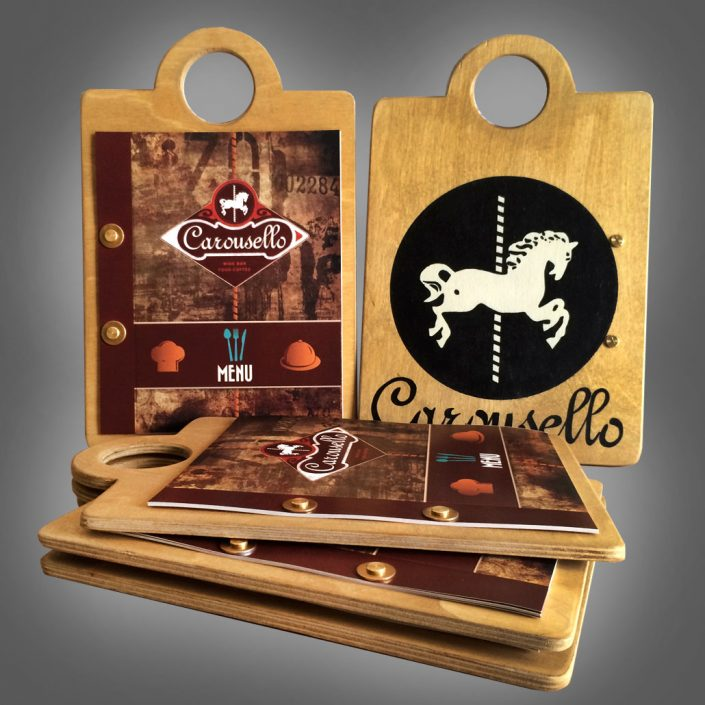 Handmade menu for Carousello wine bar restaurant